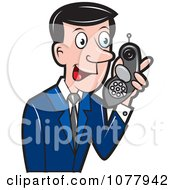 Clipart Spy Talking On A Strange Phone Royalty Free Vector Illustration