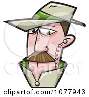 Clipart Spy Wearing An Ear Piece Royalty Free Vector Illustration