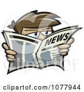 Clipart Spy Looking Over A News Paper Royalty Free Vector Illustration
