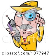 Clipart Spy Holding A Magnifying Glass And Shoe Phone Royalty Free Vector Illustration