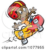 Clipart Black Boy Skateboarding With A Helmet Royalty Free Vector Illustration by jtoons