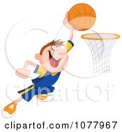 Clipart Basketball Player Making A Slam Dunk Royalty Free Vector Illustration