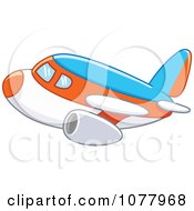 Clipart Blue Orange And White Airplane Royalty Free Vector Illustration by yayayoyo #COLLC1077968-0157