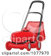 Clipart Red Landscaping Lawn Mower Royalty Free Vector Illustration