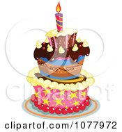 Clipart Festive Three Tiered Birthday Cake With One Candle Royalty Free Vector Illustration by yayayoyo