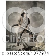 Brave Fireman Extinguishing A Building Fire With A Hose Royalty Free Historical Clip Art by JVPD