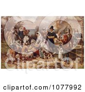 The First Thanksgiving 1621 By Jean Louis Gerome Ferris Royalty Free Historical Clip Art by JVPD #COLLC1077992-0002
