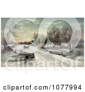 Couple Riding In A Horse Drawn Sleigh On Christmas Morning Royalty Free Historical Clip Art by JVPD