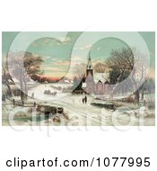 People Gathering At A Small Village Church On A Snowy Christmas Eve Royalty Free Historical Clip Art by JVPD