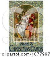 Young Medieval Couple Walking Under Mistletoe Near A Fire On Christmas Royalty Free Historical Clip Art