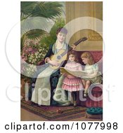 Mother And Two Little Girls Singing A Christmas Carol Royalty Free Historical Clip Art by JVPD