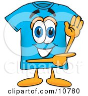 Clipart Picture Of A Blue Short Sleeved T Shirt Mascot Cartoon Character Waving And Pointing by Toons4Biz