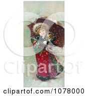 Girl And Dog In Snow Storm Royalty Free Historical Clip Art