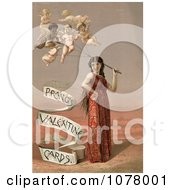 Woman With Cherub Balloons Royalty Free Historical Clip Art
