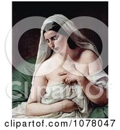 Odalisque Nude And Draped In White Cloths By Francesco Hayez Royalty Free Historical Clip Art by JVPD
