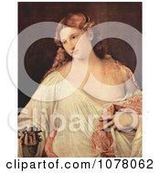 Beautiful Young Woman Holding Flower Petals Royalty Free Historical Clip Art