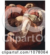 Woman Mourning At The Bedside During The Death Of The Virgin Royalty Free Historical Clip Art
