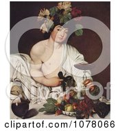 Young Man Wearing Grapes And Leaves On His Head Holding A Glass Of Red Wine Seated By Fruit Royalty Free Historical Clip Art