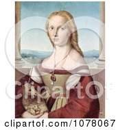 Portrait Of A Young Woman With A Baby Unicorn Royalty Free Historical Clip Art