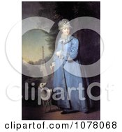 Queen Catherine The Great With Her Whippet Dog In The Garden Of Tsarskoye Selo Royalty Free Historical Clip Art by JVPD