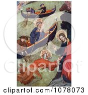 Jesus Christ Holding Onto Apostle Peter While Walking On Water Near Boats Royalty Free Historical Clip Art