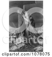 Woman In A Stormy Sea Clinging To A Wooden Cross Royalty Free Historical Clip Art