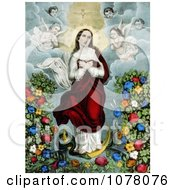 Virgin Mary With Angels Snake And Flowers Immaculate Conception Royalty Free Historical Clip Art