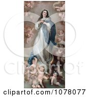 Mary As The The Immaculate Conception With Clouds And Cherubs Royalty Free Historical Clip Art