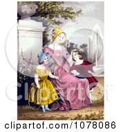 Mother With Son And Daughter By A Water Fountain In A Park Royalty Free Historical Clip Art by JVPD