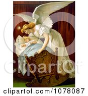 Angel Rocking A Baby Cradle Royalty Free Historical Clip Art