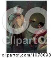 Florence Nightingale With A Lamp Near A Man Royalty Free Historical Clip Art