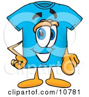 Clipart Picture Of A Blue Short Sleeved T Shirt Mascot Cartoon Character Pointing At The Viewer by Toons4Biz