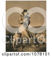 Shepherd In The Wind With His Dog And Sheep Royalty Free Historical Clip Art