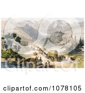 Emigrant Party Wagon Train Royalty Free Historical Clip Art by JVPD