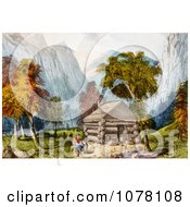 Log Cabin In Yosemite Royalty Free Historical Clip Art