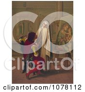 Painter And Nun Royalty Free Historical Clip Art