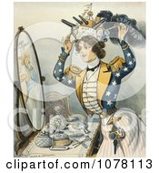 Woman Wearing Warship As Hat Royalty Free Historical Clip Art
