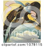 Bald Eagle On The Globe Royalty Free Historical Clip Art