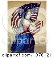 Woman Carrying The Star Spangled Banner Royalty Free Historical Clip Art by JVPD #COLLC1078121-0002
