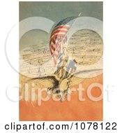 Columbia On An Eagle Holding Flag Followed By Airplanes Royalty Free Historical Clip Art
