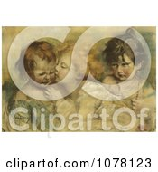 Stock Three Children One Kissing Another Royalty Free Historical Clip Art by JVPD