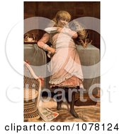Girl With A Cat Royalty Free Historical Clip Art by JVPD