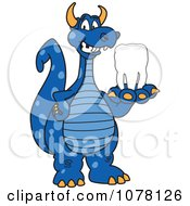 Blue Dragon School Mascot Holding A Tooth