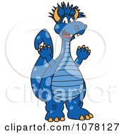 Happy Blue Punk Dragon School Mascot