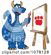Blue Dragon School Mascot Painting A Paw Print