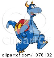 Blue Dragon School Mascot Wearing A Backpack