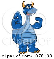 Blue Dragon School Mascot Flexing