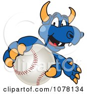 Blue Dragon School Mascot Grabbing A Baseball