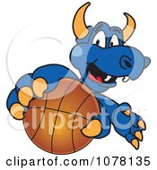 Blue Dragon School Mascot Grabbing A Basketball