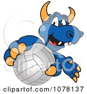 Clipart Blue Dragon School Mascot Grabbing A Volleyball Royalty Free Vector Illustration